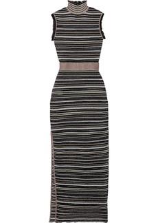 Herve Leger Hervé Léger Woman Ruffle-trimmed Metallic Striped Mesh Turtleneck Maxi Dress Black