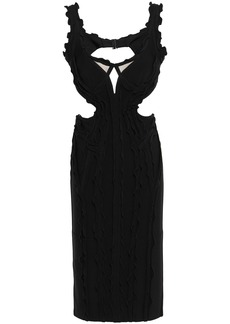 Herve Leger Hervé Léger Woman Nakita Ruffle-trimmed Cutout Bandage Dress Black