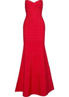 Herve Leger Hervé Léger Woman Sara Strapless Fluted Bandage Dress Red