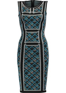 Herve Leger Hervé Léger Woman Tanya Jacquard-knit Dress Blue