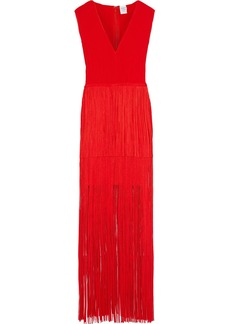 Herve Leger Hervé Léger Woman Tiered Fringed Bandage Gown Red