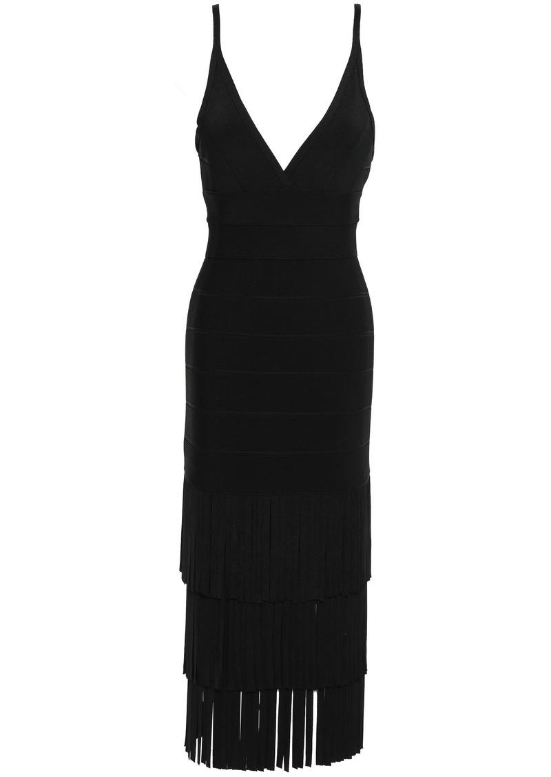 Herve Leger Hervé Léger Woman Tiered Fringed Bandage Midi Slip Dress Black