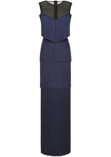 Herve Leger Hervé Léger Woman Tiered Mesh-paneled Fringed Bandage Gown Navy