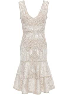 Herve Leger Hervé Léger Woman Tiered Metallic Jacquard-knit Dress Ecru