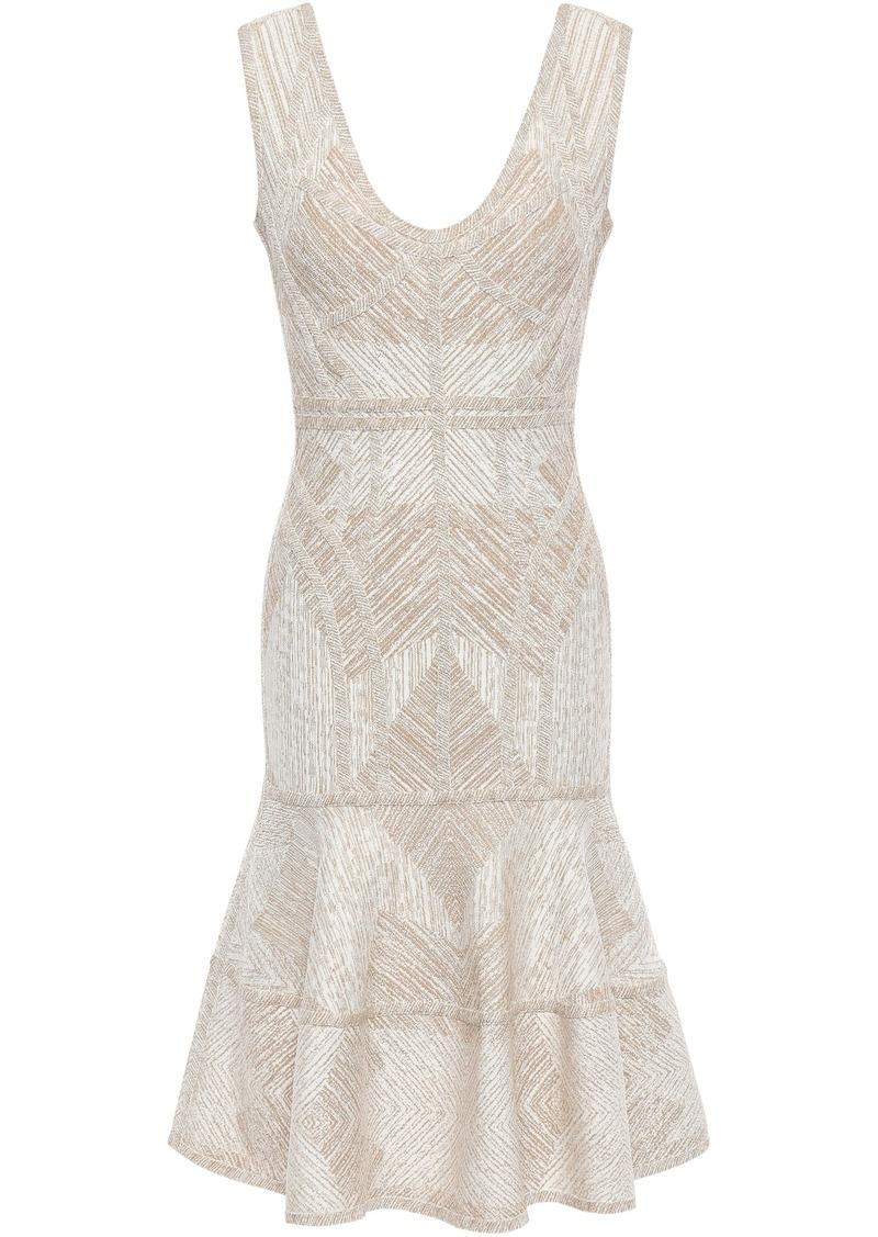 Herve Leger Hervé Léger Woman Tiered Metallic Jacquard-knit Dress Ecru