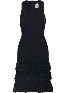 Herve Leger Hervé Léger Woman Tiered Pointelle Knit-paneled Bandage Dress Black