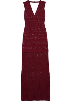 Herve Leger Hervé Léger Woman Veronica Jacquard-knit And Lace Gown Burgundy