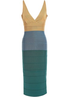 Herve Leger Hervé Léger Woman Wrap-effect Color-block Bandage Midi Dress Mustard