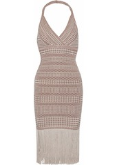 Herve Leger Hervé Léger Woman Wrap-effect Metallic Fringe-trimmed Stretch-knit Halterneck Dress Brown