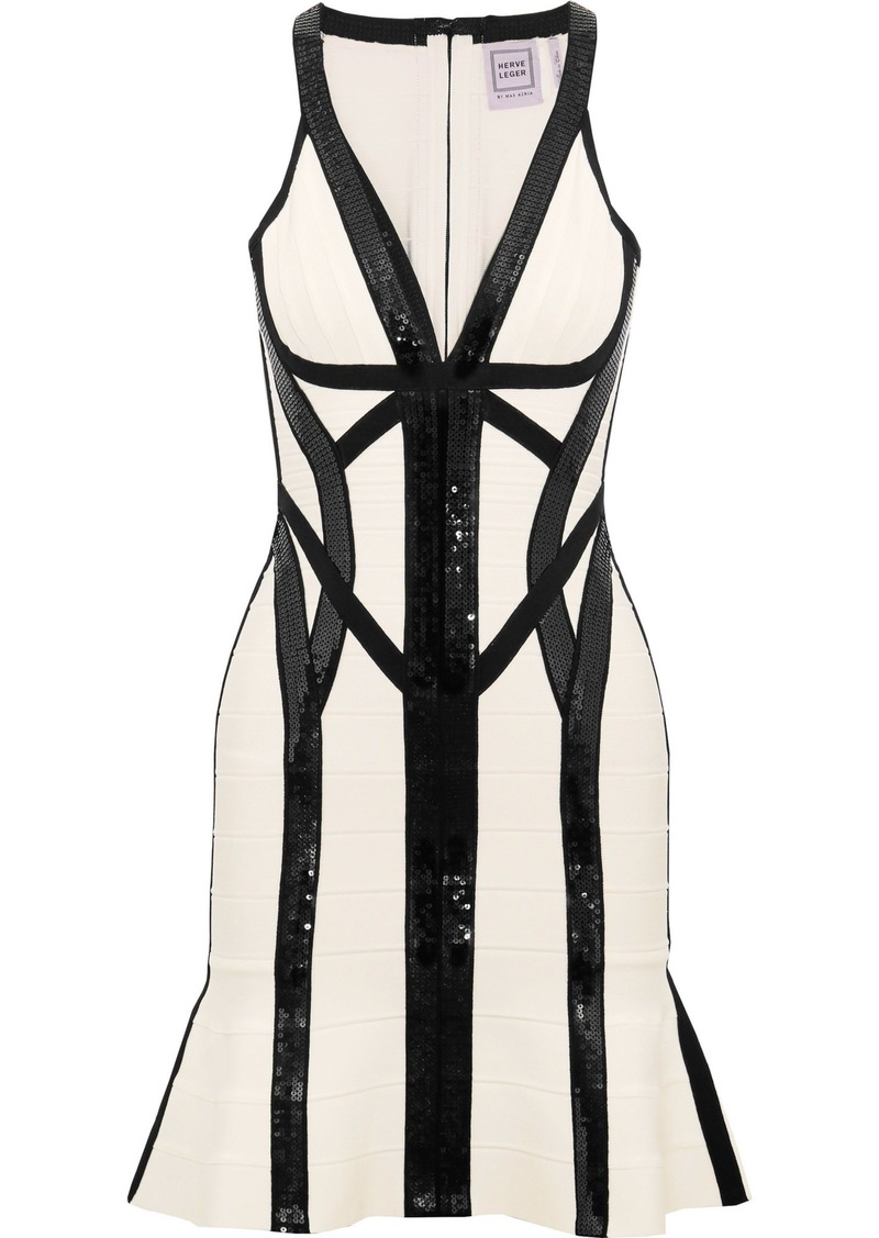 Herve Leger Hervé Léger Woman Zahara Sequin-embellished Bandage Mini Dress Off-white