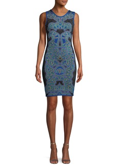 Herve Leger Abstract Baroque Jacquard Fitted Cocktail Dress