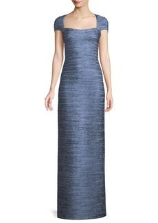 Herve Leger Cap-Sleeve Foil Column Evening Gown