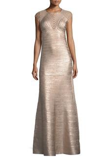 Herve Leger Cap-Sleeve Geometric Illusion Bandage Evening Gown