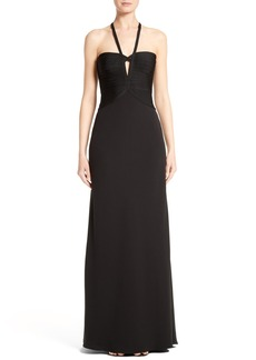 Herve Leger Cross Strap Keyhole Gown
