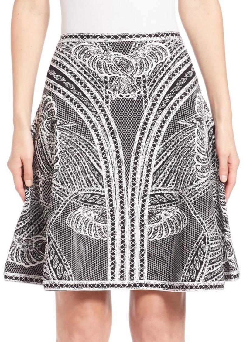 Herve Leger Dove-Print A-line Knit Skirt