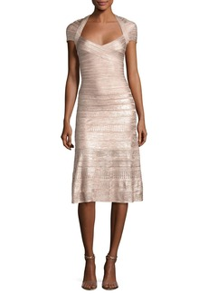 Herve Leger Foil Cap-Sleeve Bandage Midi Dress