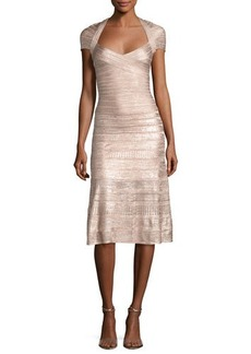 Herve Leger Foil Cap-Sleeve Bandage Midi Dress