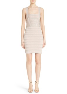 Herve Leger Foil Knit Bandage Dress