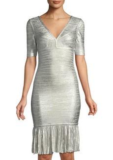 Herve Leger Foil Metallic Pointelle Flounce-Hem Bandage Dress