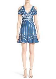Herve Leger Foil Ribbon Cold Shoulder Dress