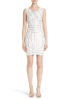 Herve Leger Foil Ribbon Sheath Dress