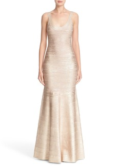 Herve Leger Foiled Mermaid Bandage Gown