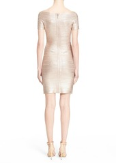 Herve Leger Foiled Off the Shoulder Bandage Dress