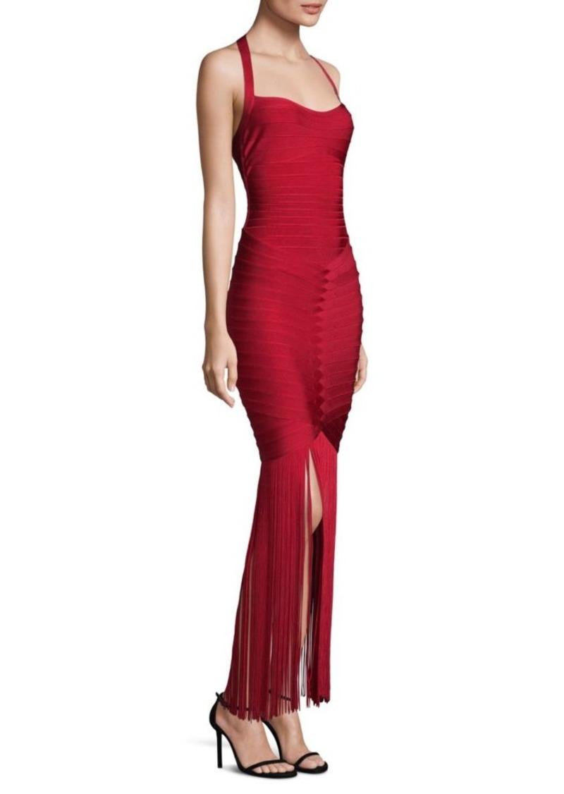 Herve Leger Fringe Skirt Halter Bodycon Gown | Dresses - Shop It To Me