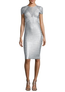 Herve Leger Geometric Illusion Straight Bandage Cocktail Dress