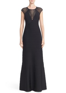 Herve Leger Illusion Yoke Bandage Gown