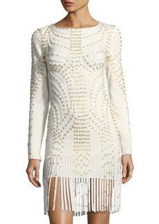 Herve Leger Long-Sleeve Cocktail Dress w/ Fringe & Grommets