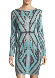 Herve Leger Long-Sleeve Geo Jacquard Cocktail Dress