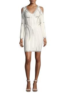 Herve Leger Metallic-Embroidered Cold-Shoulder Dress