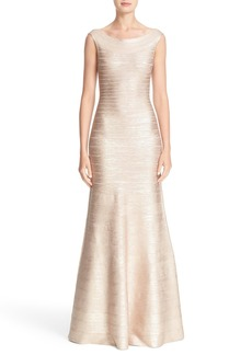 Herve Leger Metallic Knit Bateau Neck Gown