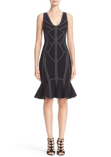 Herve Leger Metallic Trim Flutter Hem Dress