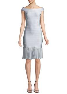 Herve Leger Off-the-Shoulder Bandage Dress with Chiffon Skirt