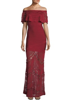 Herve Leger Off-the-Shoulder Bandage Evening Gown with Lace Insets