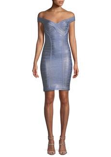 Herve Leger Off-the-Shoulder Bandage Foil Body-con Cocktail Dress