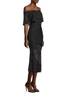 Herve Leger Off-The-Shoulder Midi Dress