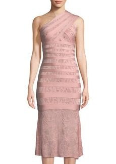 Herve Leger One-Shoulder Lace Bandage Midi Dress