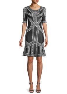 Herve Leger Round-Neck Elbow-Sleeve Fit-and-Flare Jacquard Cocktail Dress