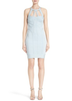 Herve Leger Ruffle Jacquard Body-Con Dress