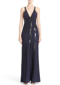 Herve Leger Sequin Embellished Bandage Gown