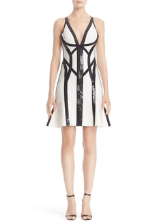 Herve Leger Sequin Embellished Flutter Hem Bandage Dress
