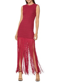 Herve Leger Sheer Striped Fringed-Skirt Gown