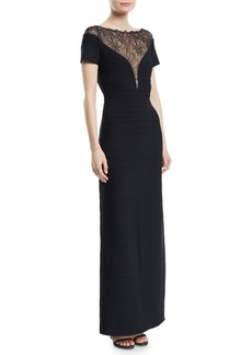 Herve Leger Short-Sleeve Bandage Column Evening Gown with Lace Inset