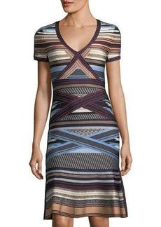Herve Leger Short-Sleeve Ikat-Print Flounce Dress