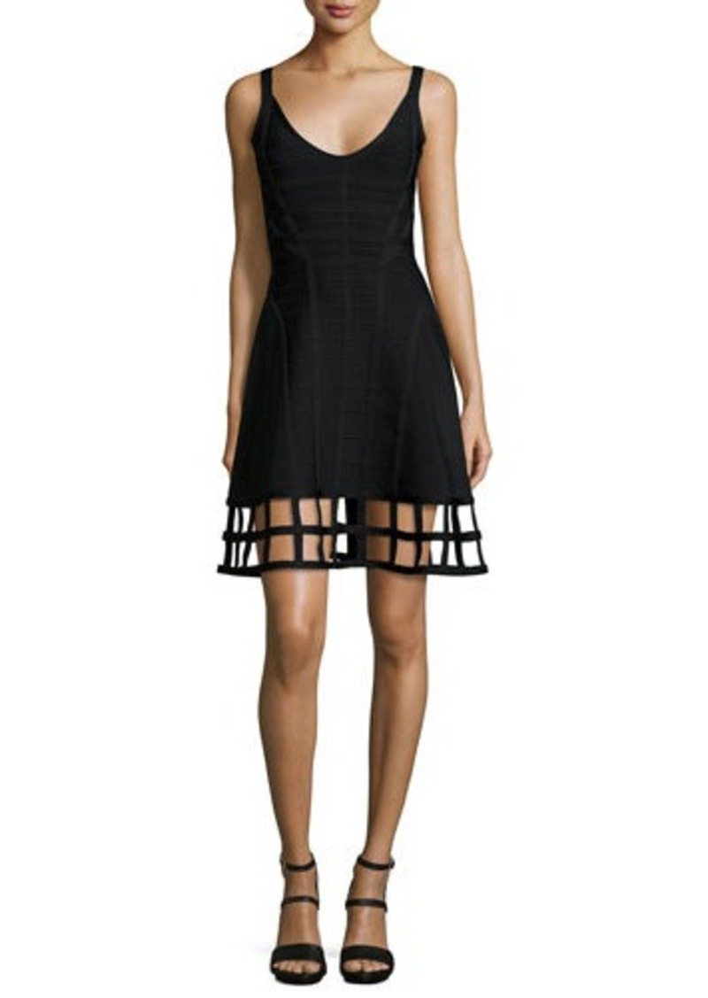 Herve Leger Sleeveless Bandage Dress W/Cage Hem