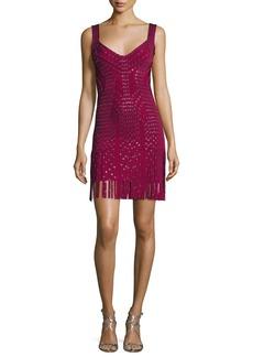 Herve Leger Sleeveless Grommet Fringe-Skirt Bandage Dress