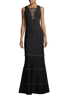 Herve Leger Sleeveless Lace-Up Embellished Gown